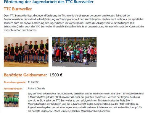 Crowdfunding-Projekt zur Förderung der Jugendarbeit des TTC Burrweiler